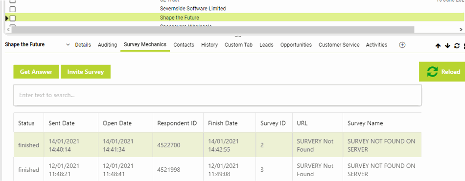 Screenshot van SurveyMechanics in Maximizer CRM
